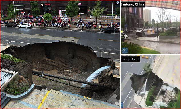 Γιγάντια Καταβόθρα στην πόλη Nantong της Κίνας.(βίντεο). - Εικόνα1