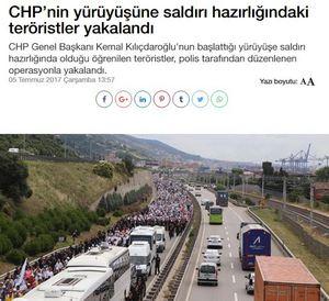 Τουρκία: Οι τρομοκράτες ετοίμαζαν επίθεση στην πορεία της αντιπολίτευσης - Εικόνα1