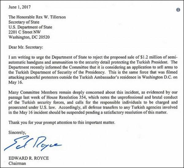ΤΡΑΒΑ ΤΑ ΜΑΛΛΙΑ ΤΟΥ Ο ΕΡΝΤΟΓΑΝ! Η πρόταση Αμερικανών πολιτικών στον Τίλερσον – Όλη η επιστολή - Εικόνα1