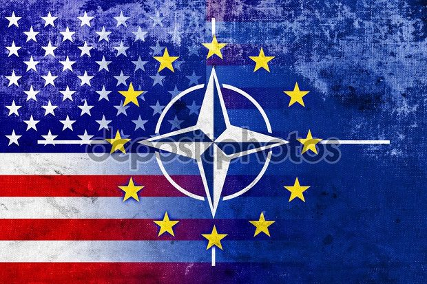 Grunge Nato, EU and USA Flag